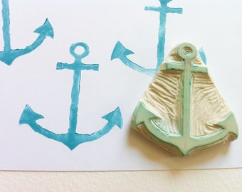 anchor hand carved rubber stamp, anchor stamp, handmade stamps, cottage stamp