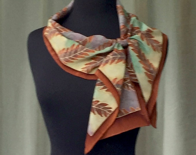 Autumn Leaves Hand Painted Silk Scarf - Pumpkin Spice, One of a Kind, Designer Original Made in USA