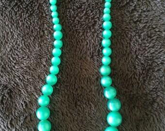 vintage moon glow plastic bead choker necklace