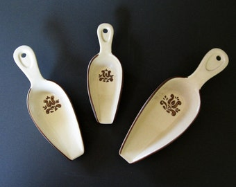 Pfaltzgraff Village Pattern Measuring Scoops Vintage Stoneware Lot of 3