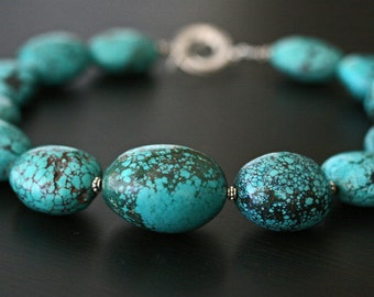 Turquoise Necklace, Chunky Turquoise Necklace, Natural Turquoise Necklace, Statement Necklace, Big Turquoise Necklace