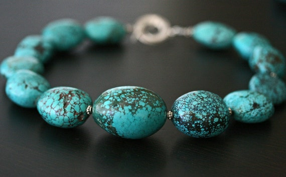 Turquoise Necklace, Chunky Turquoise Necklace, Natural Turquoise Necklace, Statement Necklace, Big Turquoise Necklace. Ready to Ship