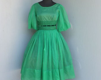 Vintage 50s/60s Green Chiffon Dress, Teen Girls, Prom Dress, Party Dress, Rockabilly,
