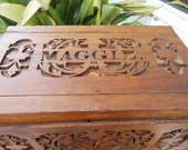 Hand Carved Folk Art Small Dowery Chest 1940s Keep Sake Box MAGGIE Carved On Top