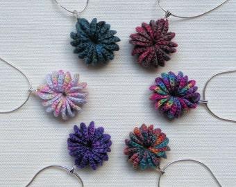 Cirque Pendant, crochet fine linen, sterling silver chain, FREE SHIPPING