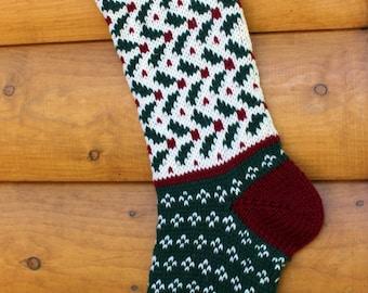 Hand Knit Christmas Stocking Mistletoe - Handmade & Ready to Ship!