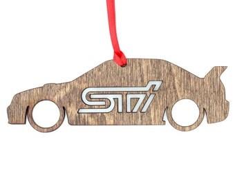 Wooden Subaru STI Sedan Ornament