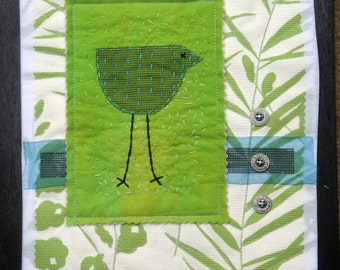 Green White Fiber Arts Bird Collage | Quilted Art Wall Hanging