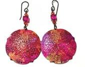 Hand painted Earring , Purple, pink, yellow, orange, Fuschia Crystal,