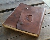 Large Blank Hand Dyed Brown Distressed Leather Journal, Rustic Leather Sketchbook With Snap, Large Leather Wedding Guest Book, Art Journal