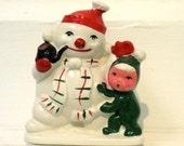 Vintage Snowman Planter