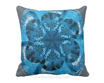 A world in blue custom toss pillow square pillow rustic home decor 16x16 pillow includes insert made to order blue grey gray white