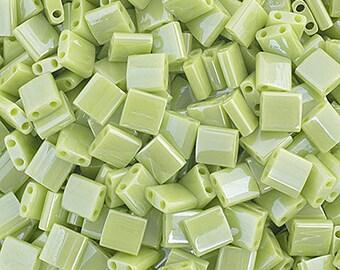 10 Grams Japanese Miyuki Tila Beads-Chartreuse Opaque Luster (TL439)
