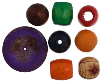 100 Grams Multi Wooden Beads Mix - Assorted Shapes (105)