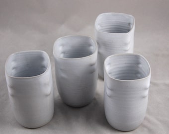 Cups Set of 4 Handle-less Tall Tumblers in White Altered Square Shape