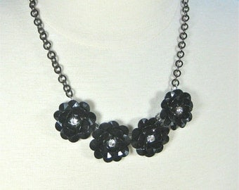Black Statement Necklace, black flowers on chain, bold black necklace