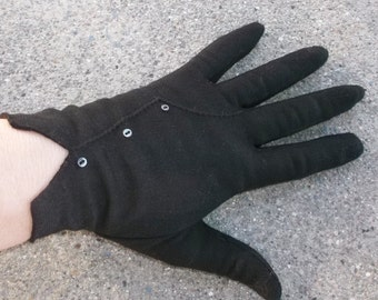 1950s Vintage Brown Nylon Stretch Gloves with Tiny Iridescent Buttons