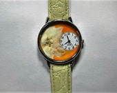 Womens Watch Jewelry Orange Wrist Watch with Creamy Larkspur and Leather Band