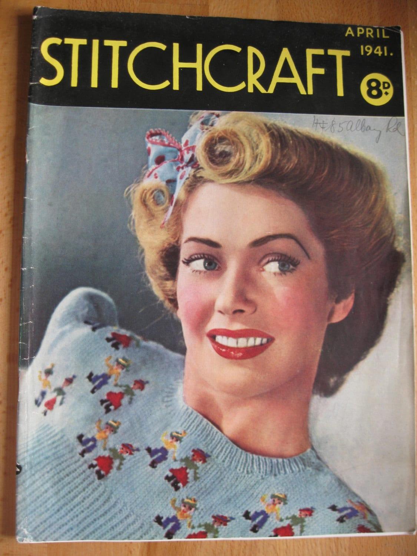 Wartime Knitting Patterns : Stitchcraft Magazine - April 1941 - Vintage 1940s WW2 Wartime - Knitting Croc...
