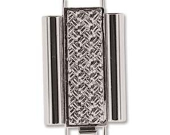 Elegant Elements BeadSlide Cross Clasp CLSP207SP-22 - Cross Hatch 10mm x 22mm Rhodium Plated - one clasp