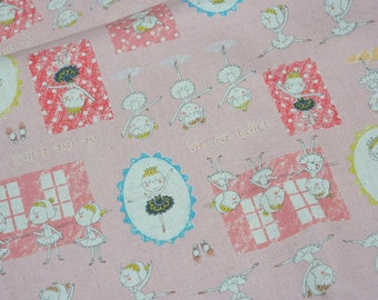 Japanese fabric Ballerina print Cotton linen A8 Half Meter 50 cm 106 cm or 19.6 by 42 inches nc51