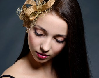 Golden small fascinator for weddings, parties, other special occasions- New petite fascinator for 2016 collection