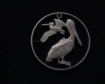 British Virgin Islands - cut coin pendant - PELICANS - 1975