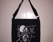 DOA Punk Band Music Messenger Bag Upcycled T Shirt Black Duck Canvas