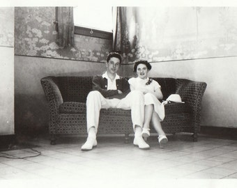 Original Vintage Photograph Snapshot Man & Woman Sitting on Couch in Corner 1930s-40s