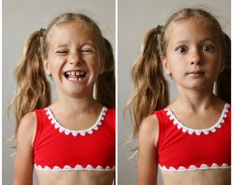 NOS, 1960s Candy Cane Bikini >>> Girls Size 2t/3t/4t