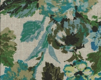"VINTAGE 1960's  Blue & Green Flowers on Linen Home Dec Fabric. 56""wide. 1 Yard."