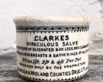 Antique Vintage Clarkes Miraculous Salve Pot Crock