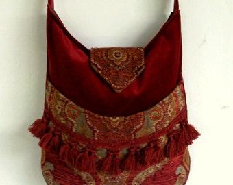 Tapestry Gypsy Bag Messenger Bag Bohemian Brick Red Velvet large bag renaissance bag messenger bag medieval bag