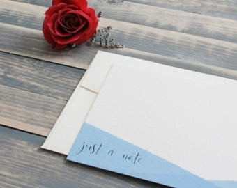 Ready to Ship - Hand Dip Dyed Cards - Ombre Stationery Set - Denim Note