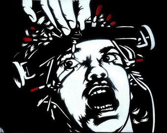 Alex DeLarge (Malcolm McDowell) Stencil Art Print 8.5x11