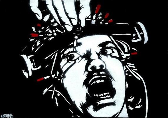 Alex DeLarge Malcolm McDowell Stencil Art Print 8.5x11