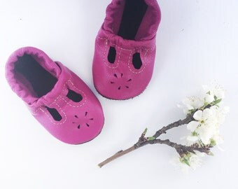 Fuchsia T-STRAPS  Soft Soled Leather Shoes Baby and Toddler Free Shipping in US