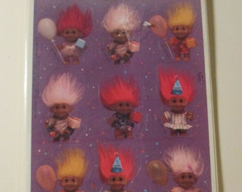 NIP 4 Sheets of Troll Birthday Party Stickers - Hallmark