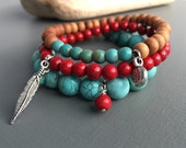 southwest mala stack stretch bracelets bohemian feather turquoise style yoga jewelry