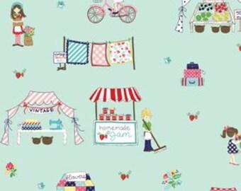 Vintage Market Main print on Aqua ~ Tasha Noel for Riley Blake ~ 100% woven cotton, by the yard