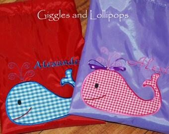 Boys girls personalized summer whale cinch sak backpack ring bearer flower girl gift