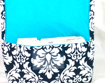 Coupon Holder or Purse Organizer Fabric Black and White Classic Damask Turquoise Lining