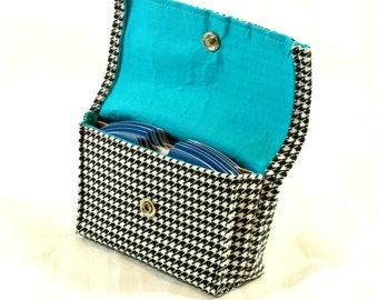 Business Card Holder, Gift Card Holder, Purse Accessory, Credit Card Holder, Grocery Card Holder, Houndstooth