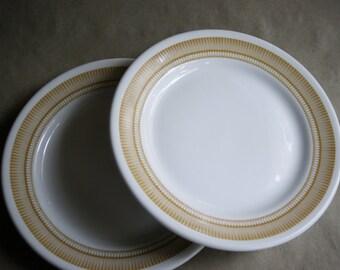 "Vintage Restaurant Plates from the 1960's Retro Design Restaurantware Diner 9"" Dinner Plate Mid Century Atomic Harvest Gold Design"