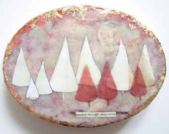 Tree encaustic art painting, snow topped trees, strawberry moon, pink art vignettes