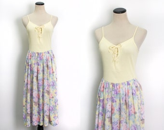 VTG 70's Pastel Flowers Sundress ( Small / Medium ) Yellow Lace Up Corset Bodice Tea Length Floral Skirt Sleeveless Spaghetti Strap Dress
