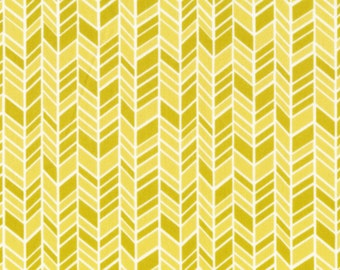 SALE Cloud 9 Organic Fabric - House and Garden Straw Hat in Yellow - 1/2 yard