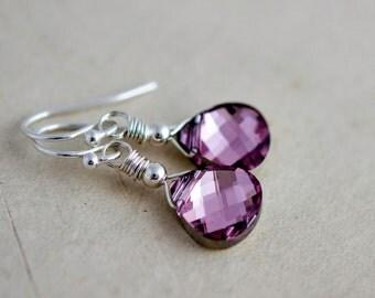 Crystal Earrings, Drop Earrings, Dangle Earrings, Wire Wrapped, Pink Crystal, Swarovski Crystal, Metallic Earrings, Modern Earrings
