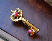 Gold Key Brooch Lovely Vintage Golden Key Brooch Pin Designer Signed Gerry's Antique Key Design with Marbled Pink Jelly Belly