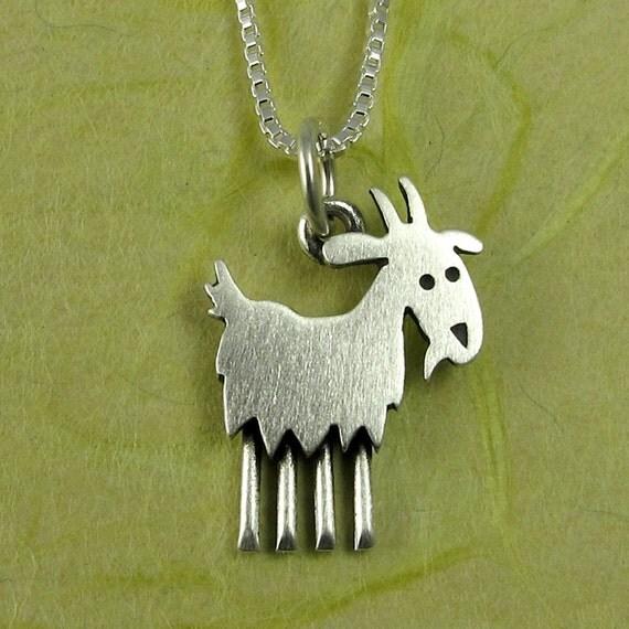 Tiny Goat Necklace Pendant By Stickmanjewelry On Etsy